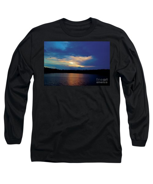 Long Sleeve T-Shirt featuring the painting Lake Sunset by Debra Crank