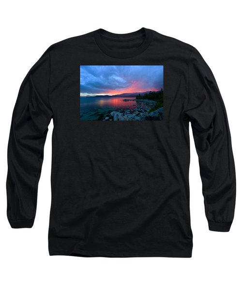 Lake Tahoe Sunset Long Sleeve T-Shirt by Sean Sarsfield