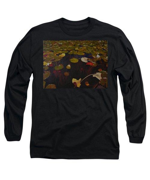 Long Sleeve T-Shirt featuring the painting Lake Washington Lilypad 7 by Thu Nguyen