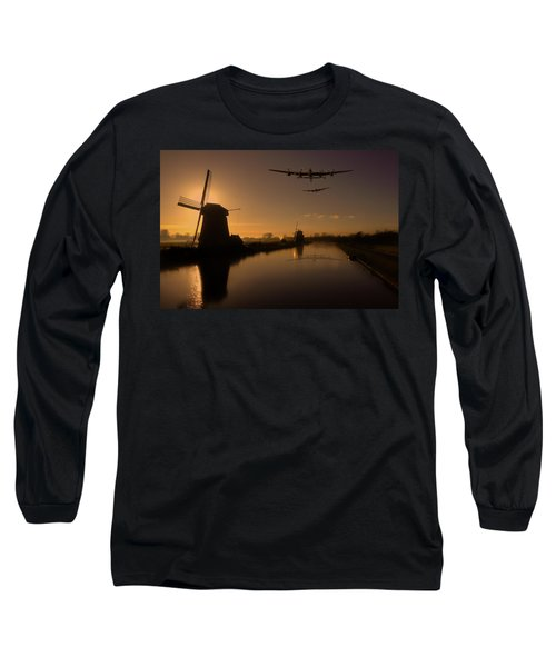 Lancaster Bombers And Dutch Windmills Long Sleeve T-Shirt