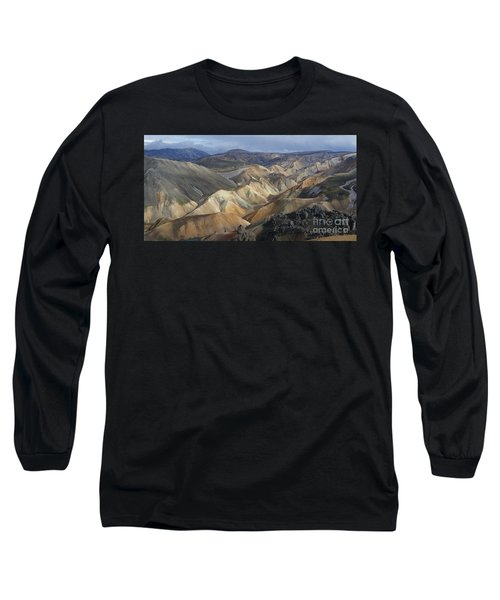 Long Sleeve T-Shirt featuring the photograph Landmannalaugar Rhyolite Mountains Iceland by Rudi Prott