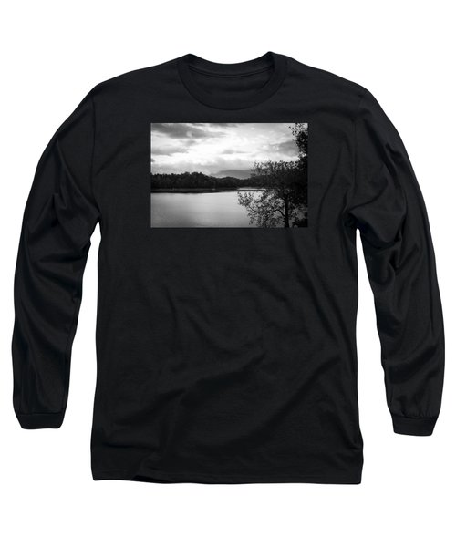 Long Sleeve T-Shirt featuring the photograph Landscape In Black And White Nantahala River Blue Ridge Mountains by Kelly Hazel
