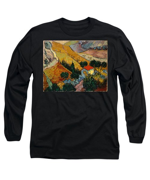 Long Sleeve T-Shirt featuring the painting Landscape With House And Ploughman by Van Gogh