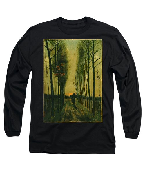 Long Sleeve T-Shirt featuring the painting Lane Of Poplars At Sunset by Van Gogh