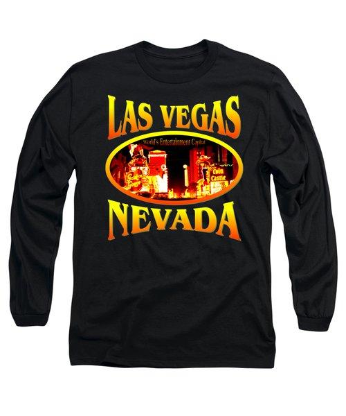 Las Vegas Nevada - Tshirt Design Long Sleeve T-Shirt by Art America Gallery Peter Potter