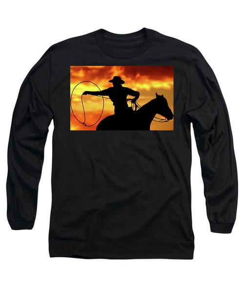 Lasso Sunset Cowboy Long Sleeve T-Shirt