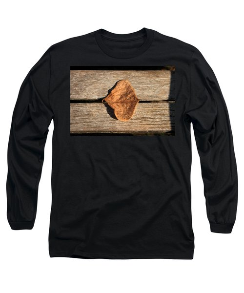 Leaf On Wooden Plank Long Sleeve T-Shirt