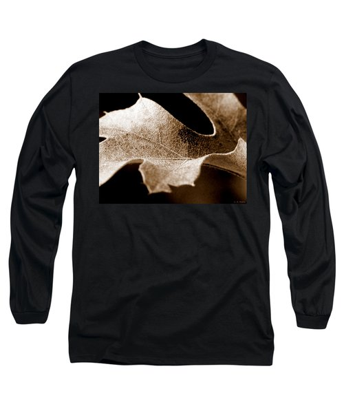 Leaf Study In Sepia Long Sleeve T-Shirt
