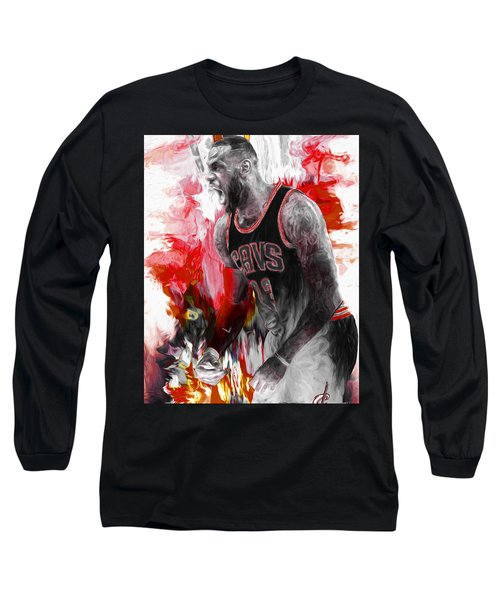 Lebron James Cleveland Cavs Digital Painting Long Sleeve T-Shirt