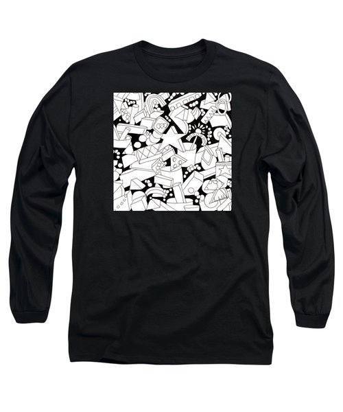 Long Sleeve T-Shirt featuring the drawing Lego-esque by Lou Belcher
