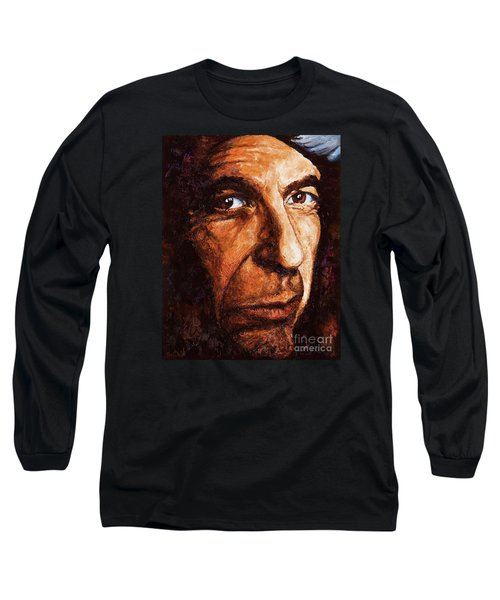 Long Sleeve T-Shirt featuring the painting Leonard Cohen by Igor Postash