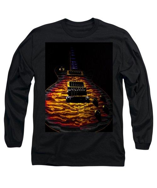 Long Sleeve T-Shirt featuring the digital art Tri-burst Quilt Top Guitar Spotlight Series by Guitar Wacky