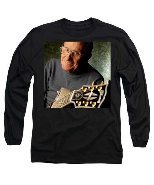 Les Paul With His White Gibson Les Paul Custom Guitar By Gene Martin Long Sleeve T-Shirt