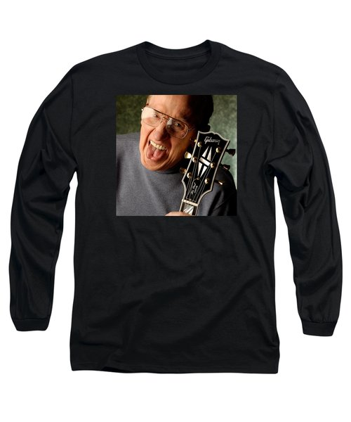 Les Paul With Tongue Out By Gene Martin Long Sleeve T-Shirt