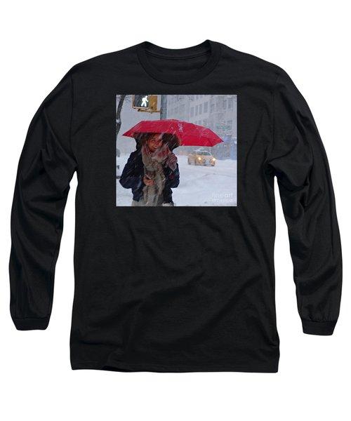 L Esprit De New York - Winter In New York Long Sleeve T-Shirt by Miriam Danar