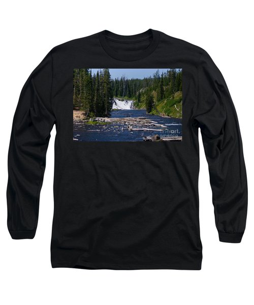 Lewis Falls Yellowstone Long Sleeve T-Shirt by Jennifer White