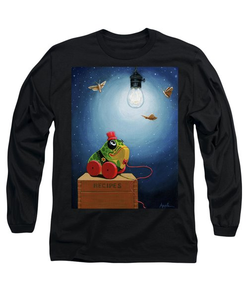 Long Sleeve T-Shirt featuring the painting Light Snacks Original Whimsical Still Life by Linda Apple