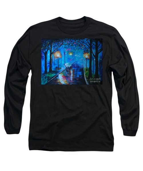 Long Sleeve T-Shirt featuring the painting Lighted Parkway by Leslie Allen
