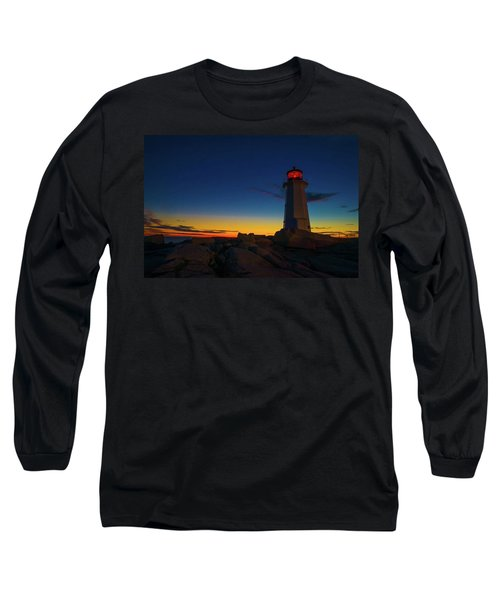 Lighthouse Sunset Long Sleeve T-Shirt by Andre Faubert