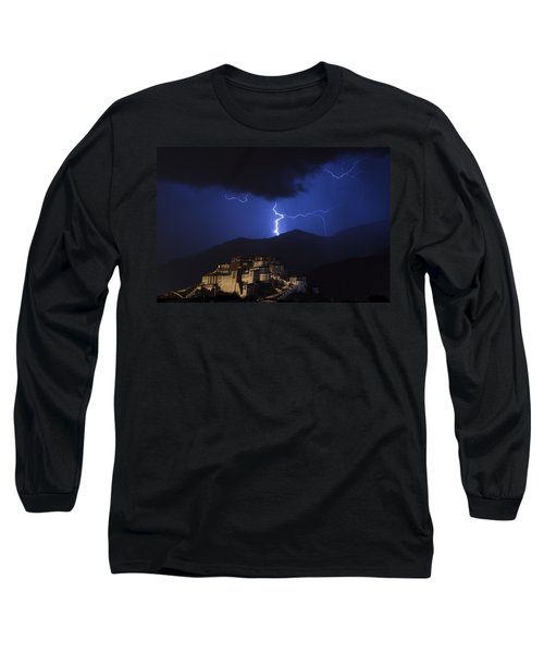 Long Sleeve T-Shirt featuring the photograph Lightning Over Potala Palace, Lhasa, 2007 by Hitendra SINKAR