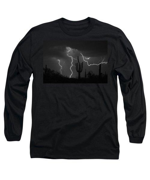 Lightning Storm Saguaro Fine Art Bw Photography Long Sleeve T-Shirt