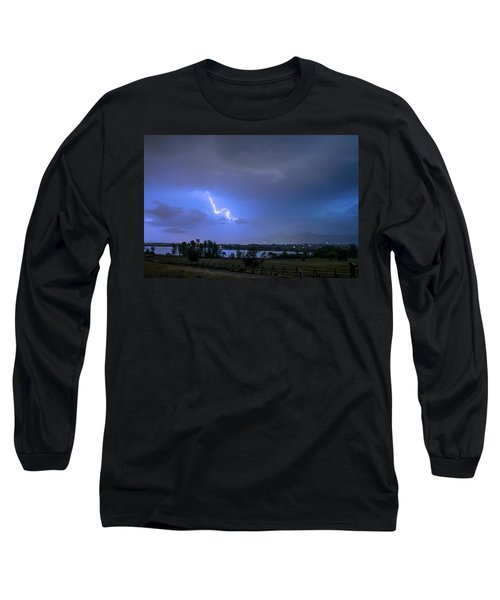 Long Sleeve T-Shirt featuring the photograph Lightning Striking Over Boulder Reservoir by James BO Insogna