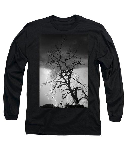 Lightning Tree Silhouette Portrait Bw Long Sleeve T-Shirt