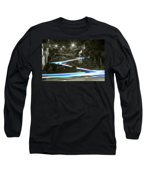 Lights On Lombard Black And White Long Sleeve T-Shirt