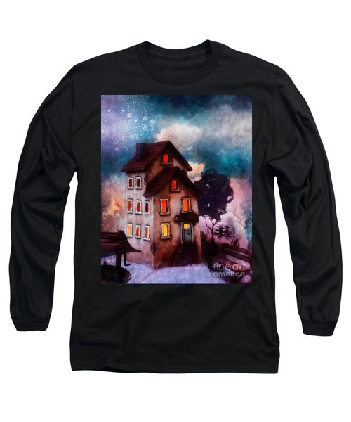 Long Sleeve T-Shirt featuring the painting Lilac Hill by Mo T