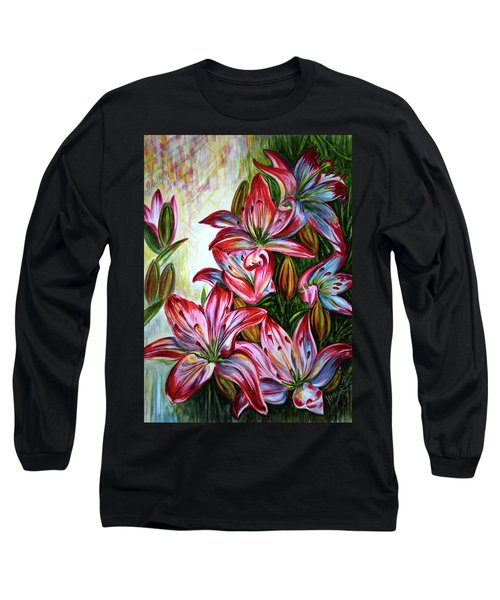 Long Sleeve T-Shirt featuring the painting Lilies by Harsh Malik