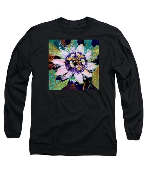 Long Sleeve T-Shirt featuring the painting Lilikoi by Marionette Taboniar
