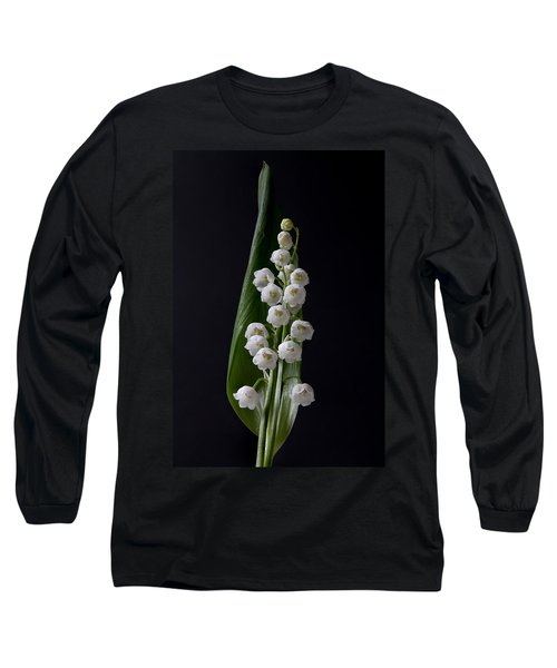 Lily Of The Valley On Black Long Sleeve T-Shirt