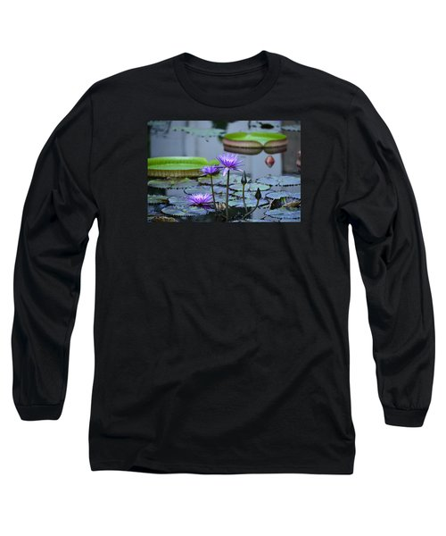 Lily Pond Wonders Long Sleeve T-Shirt by Maria Urso