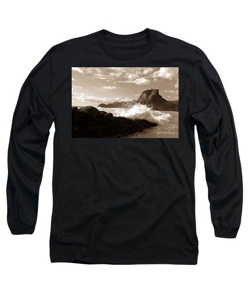 Lion Rock On Piha Beach, New Zealand Long Sleeve T-Shirt by Yurix Sardinelly