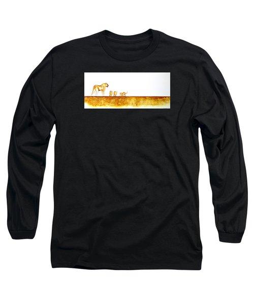 Lioness And Cubs - Original Artwork Long Sleeve T-Shirt