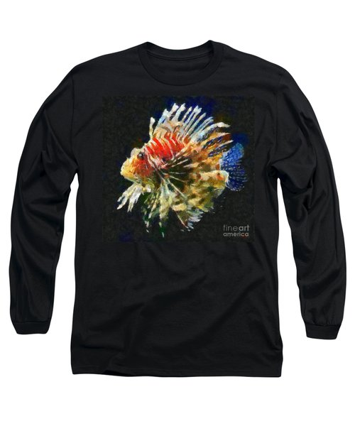 Long Sleeve T-Shirt featuring the painting Lionfish by Dragica  Micki Fortuna