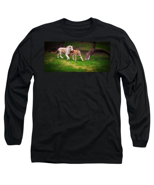 Long Sleeve T-Shirt featuring the photograph Lions Love by Jenny Rainbow