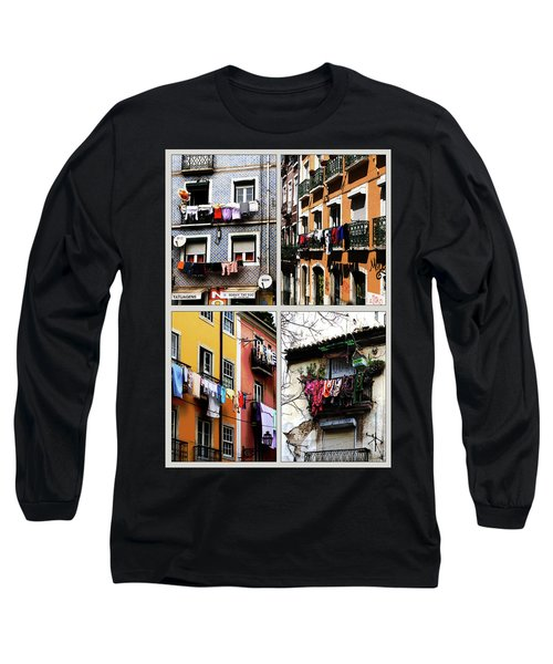 Long Sleeve T-Shirt featuring the photograph Lisbon Laundry by Lorraine Devon Wilke
