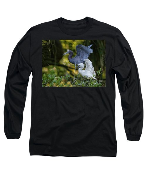 Little Blue Adult And Juvenile Long Sleeve T-Shirt by Myrna Bradshaw