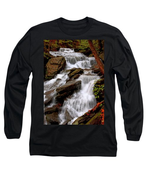 Long Sleeve T-Shirt featuring the photograph Little Four Mile Run Falls by Suzanne Stout