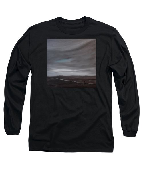 Long Sleeve T-Shirt featuring the painting Little Woman In Large Landscape by Tone Aanderaa