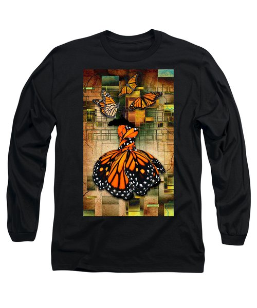 Long Sleeve T-Shirt featuring the mixed media Living A Life With No Boundaries by Marvin Blaine