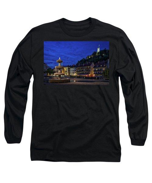 Long Sleeve T-Shirt featuring the photograph Ljubljana Night Scene #2 - Slovenia by Stuart Litoff