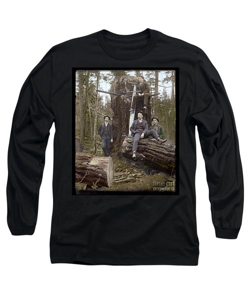 Long Sleeve T-Shirt featuring the photograph Loggers Sunday Best 1911 by Martin Konopacki Restoration