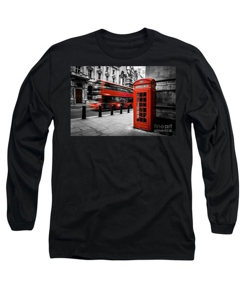 London Bus And Telephone Box In Red Long Sleeve T-Shirt