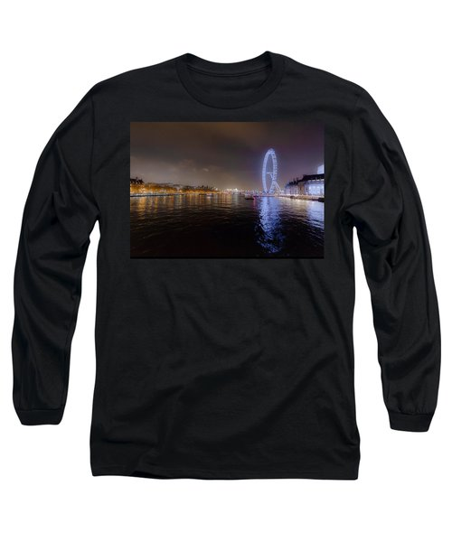London Eye At Night Long Sleeve T-Shirt by Patrick Kain