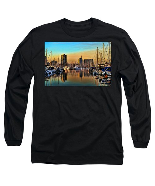 Long Sleeve T-Shirt featuring the photograph Long Beach Harbor by Mariola Bitner