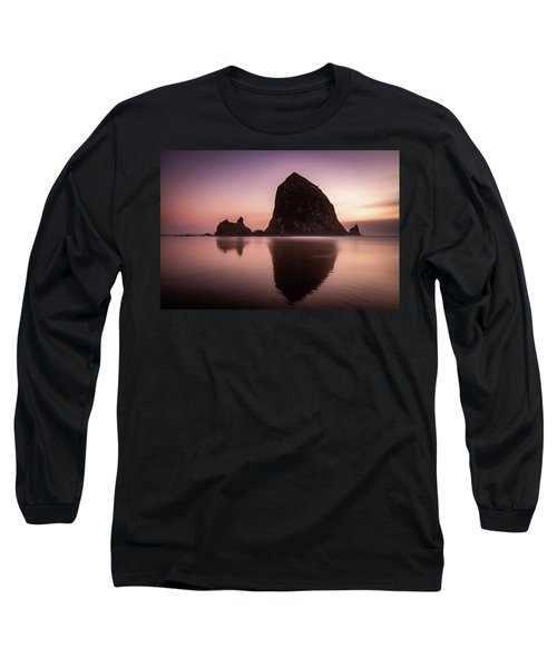 Long Exposure Of Haystack Rock At Sunset Long Sleeve T-Shirt