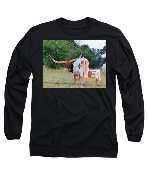 Longhorn Cattle Long Sleeve T-Shirt by Robin Regan