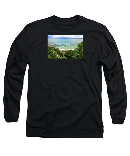 Long Sleeve T-Shirt featuring the photograph Looking Down To The Beach by Nareeta Martin